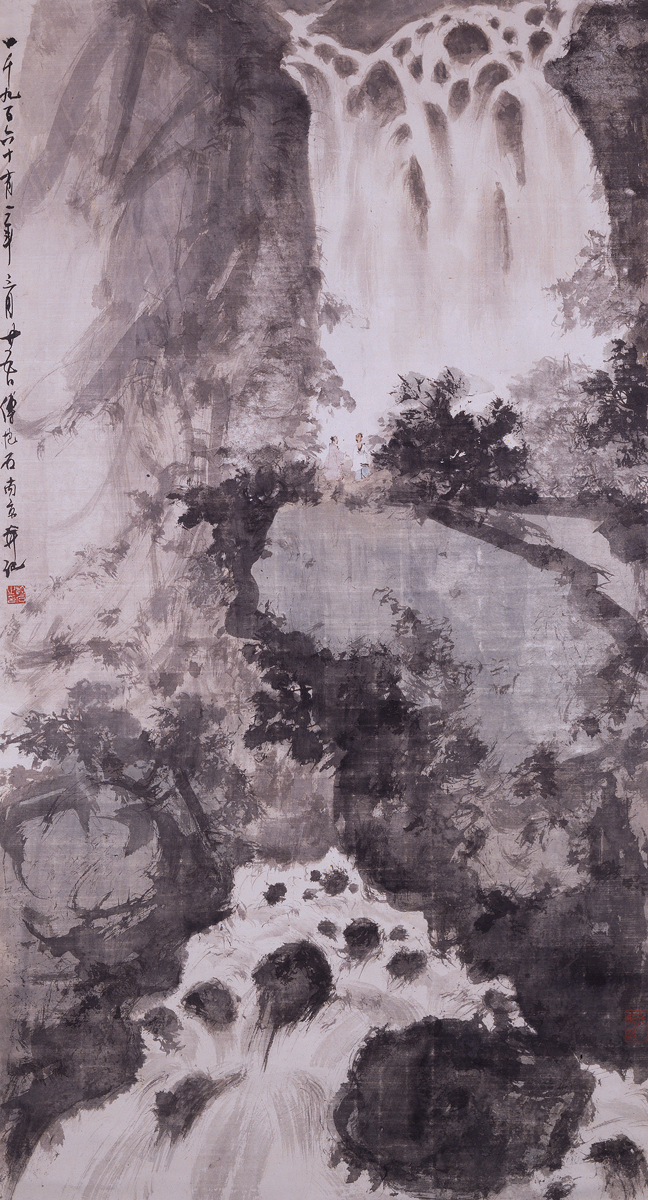 Fu Baoshi, Waterfall Landscape, 1961. Ink and colour on paper © Ashmolean Museum