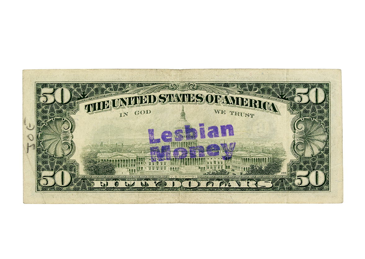 $50 US banknote countermarked with the words 'Lesbian Money'