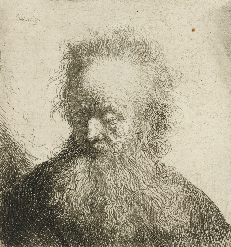 2020 Young Rembrandt Exhibition – Rembrandt, Old man with a flowing beard, 1631 WA1855_429 © Ashmolean Museum