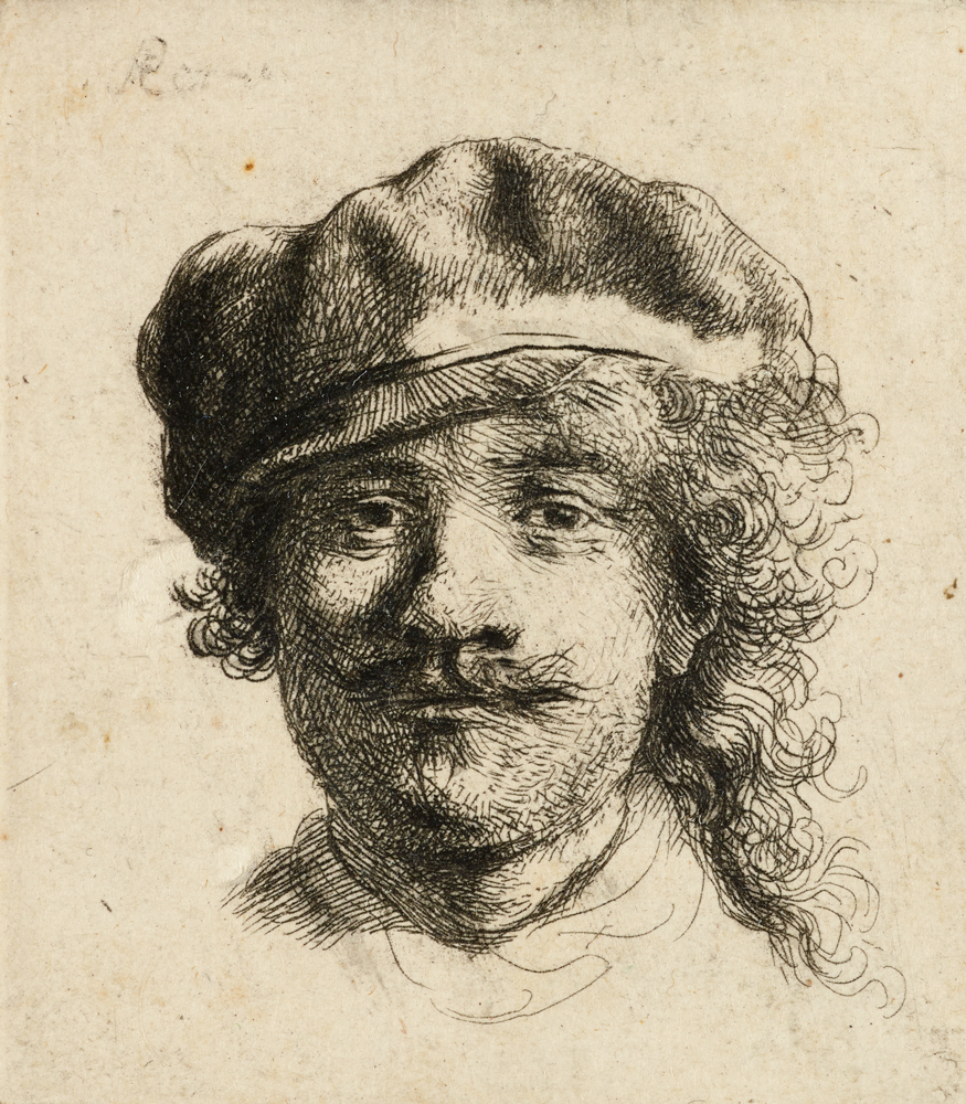 An etching of a young man in a cap