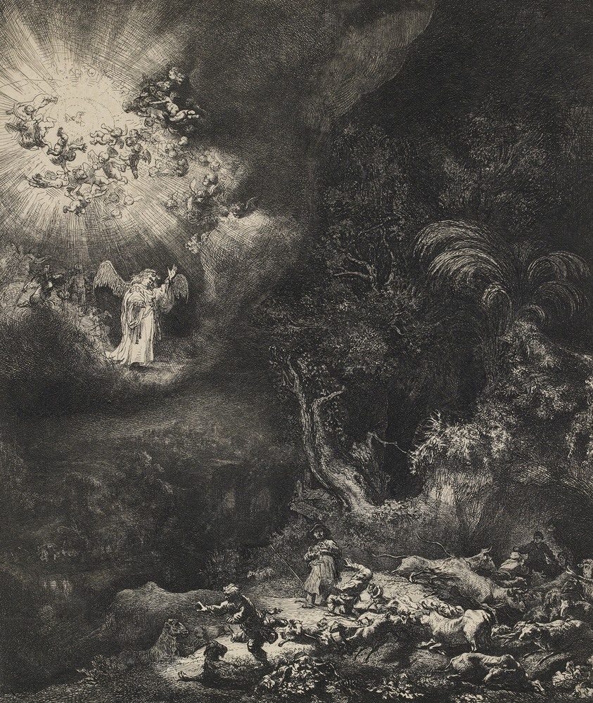 2020 Young Rembrandt Exhibition – Rembrandt, The angel appearing to the shepherds, 1634 WA1855_423 © Ashmolean Museum