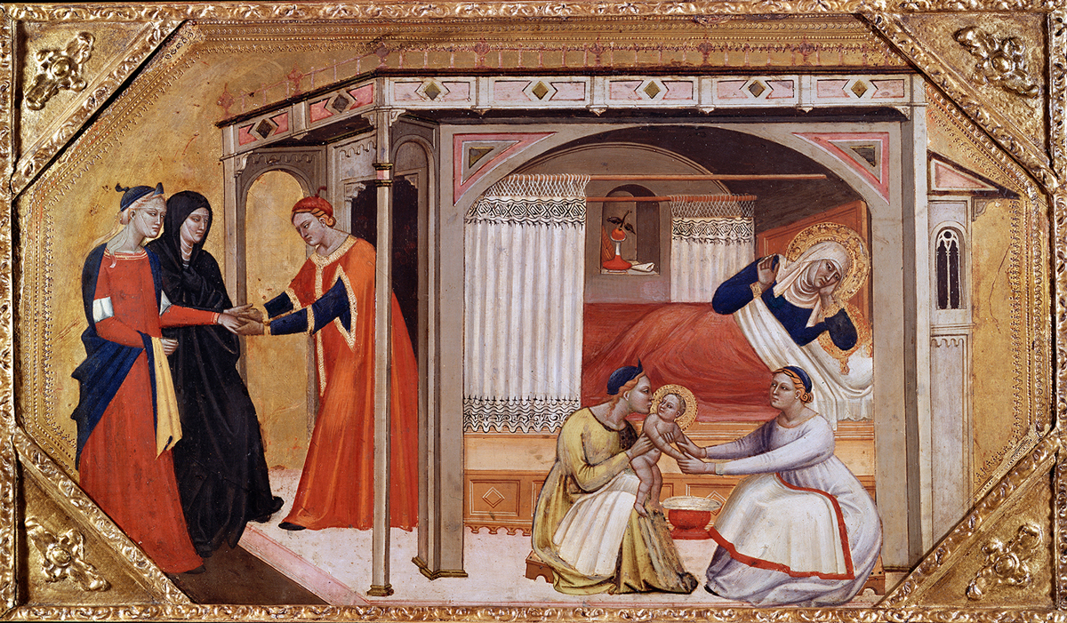 A landscape scene of the birth of the Virgin Mary