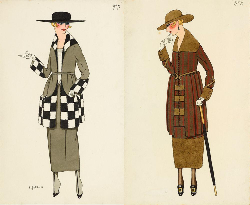 Alberto Fabio (Fabius) Lorenzi, Costume designs No.3 and No.2.