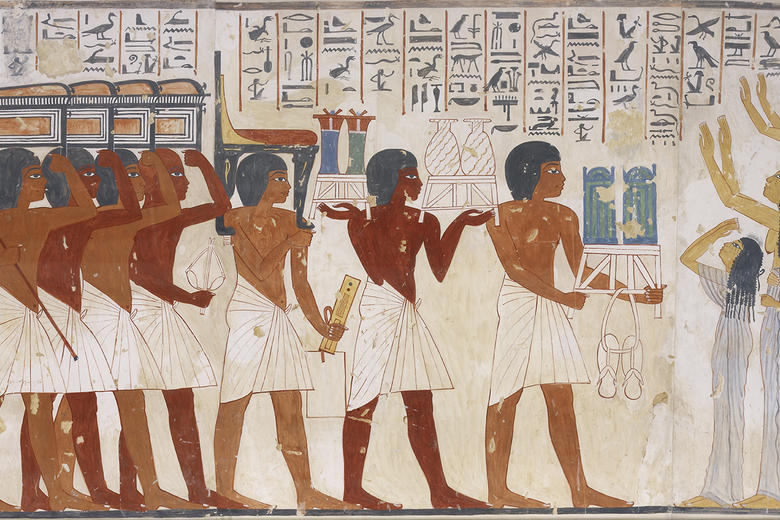 Copy of wall painting from private tomb of Ramosi, Thebes, showing funerary procession, by Nina Davies (1881 - 1965) - detail