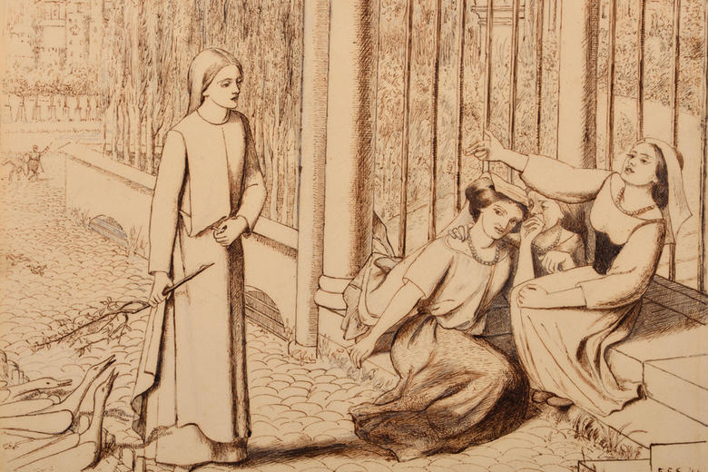 Line drawing of a woman passing two other women sat on steps