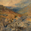 A landscape painting of a rocky valley, in oranges and grey tones, with a blue cloudy sky