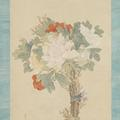 A tall painting of a bouquet of peony flowers