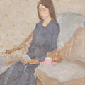 Painting by Gwen John of a young woman in a blue dress, sat reading in a wicker chair