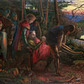 Watercolour showing a knight carried by other figures through a woodland