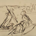 A line drawings of figures punting on a river