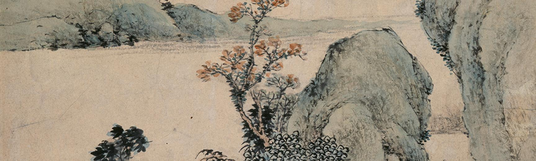 Landscape with figure on a bridge, Dai Xi