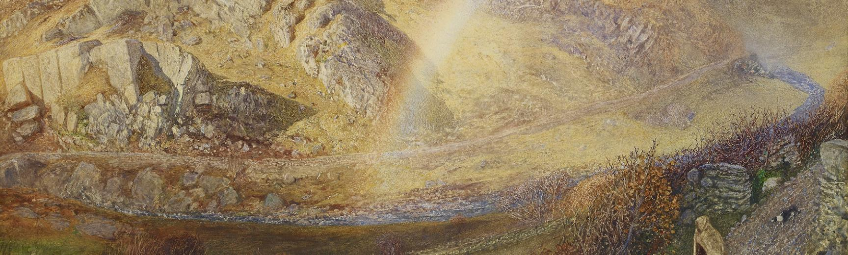 A W Hunt - Rainbow, Dolwyddelan Valley at the Ashmolean Museum