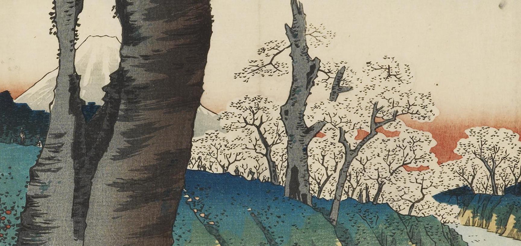 Koganei in Musashi Province by Utagawa Hiroshige (detail)