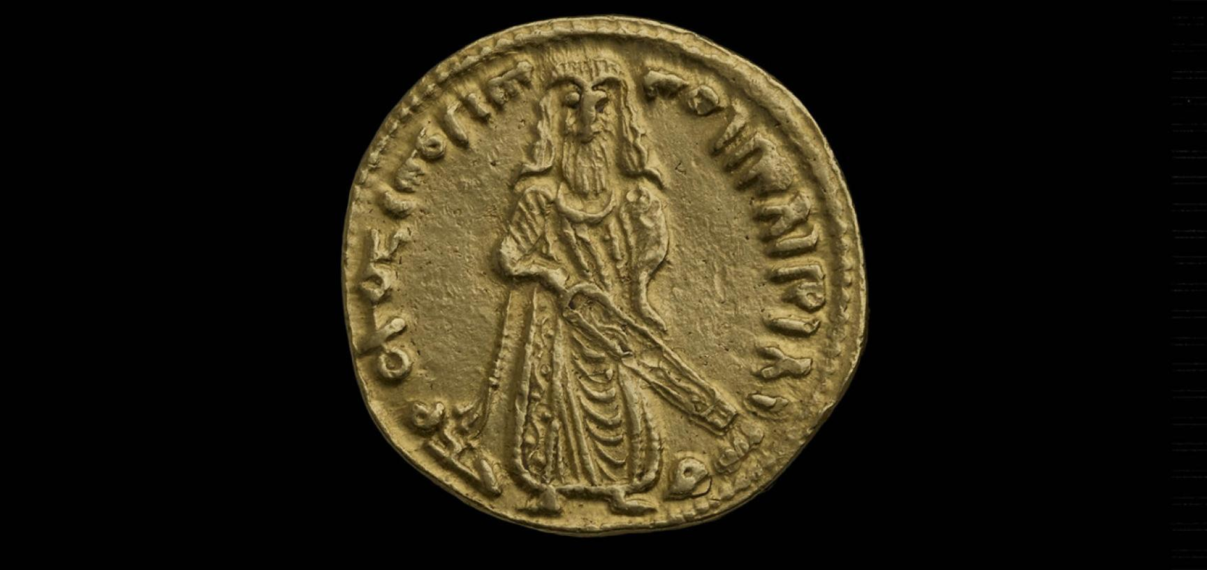 Standing Caliph Dinar, AD 696-697
