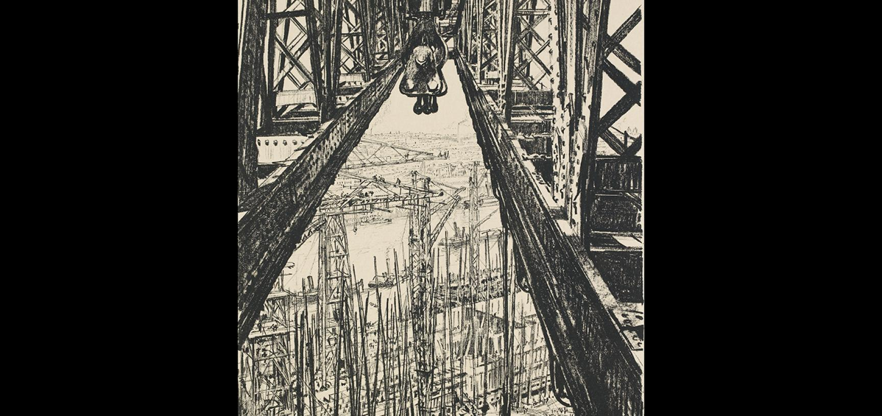 Muirhead Bone, A Ship-yard Seen from a Big Crane, 1917 © Ashmolean Museum, Presented by the Ministry of Information, WA1919.31.33