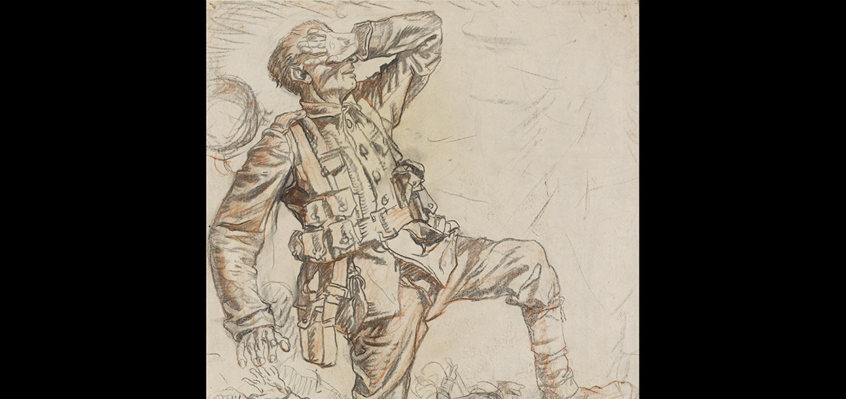 Frank Brangwyn, Soldiers under Airburst Fire ('Shell'), c. 1919 © Ashmolean Museum, Presented by Sir Frank Brangwyn R.A., WA1944.50