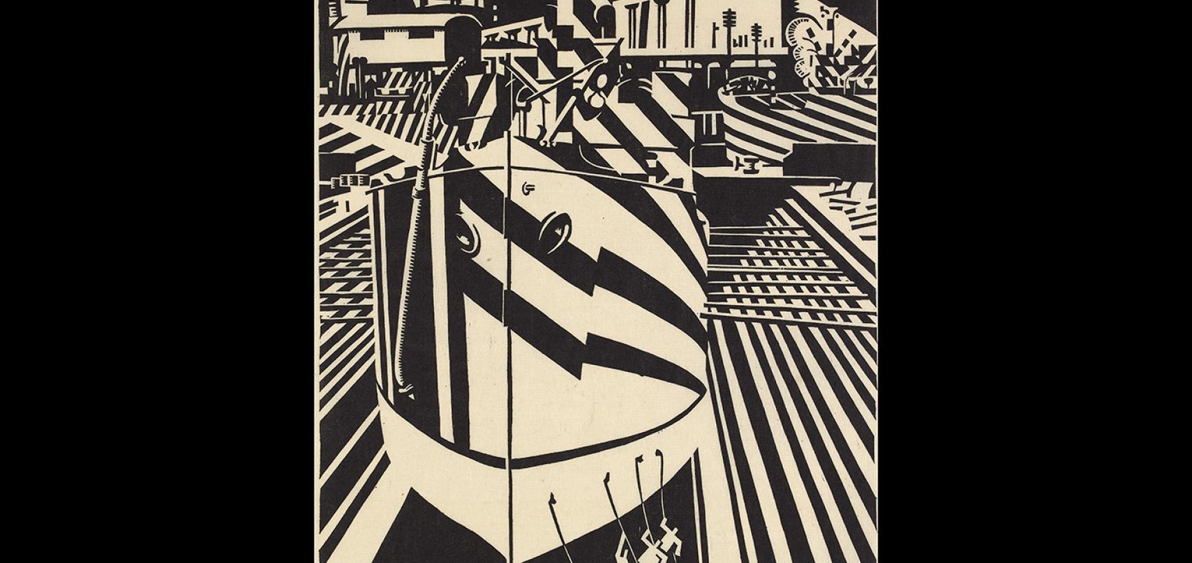 Edward Wadsworth, Liverpool Shipping, 1918 © Ashmolean Museum, Presented by Thomas Balston, WA1954.157.103