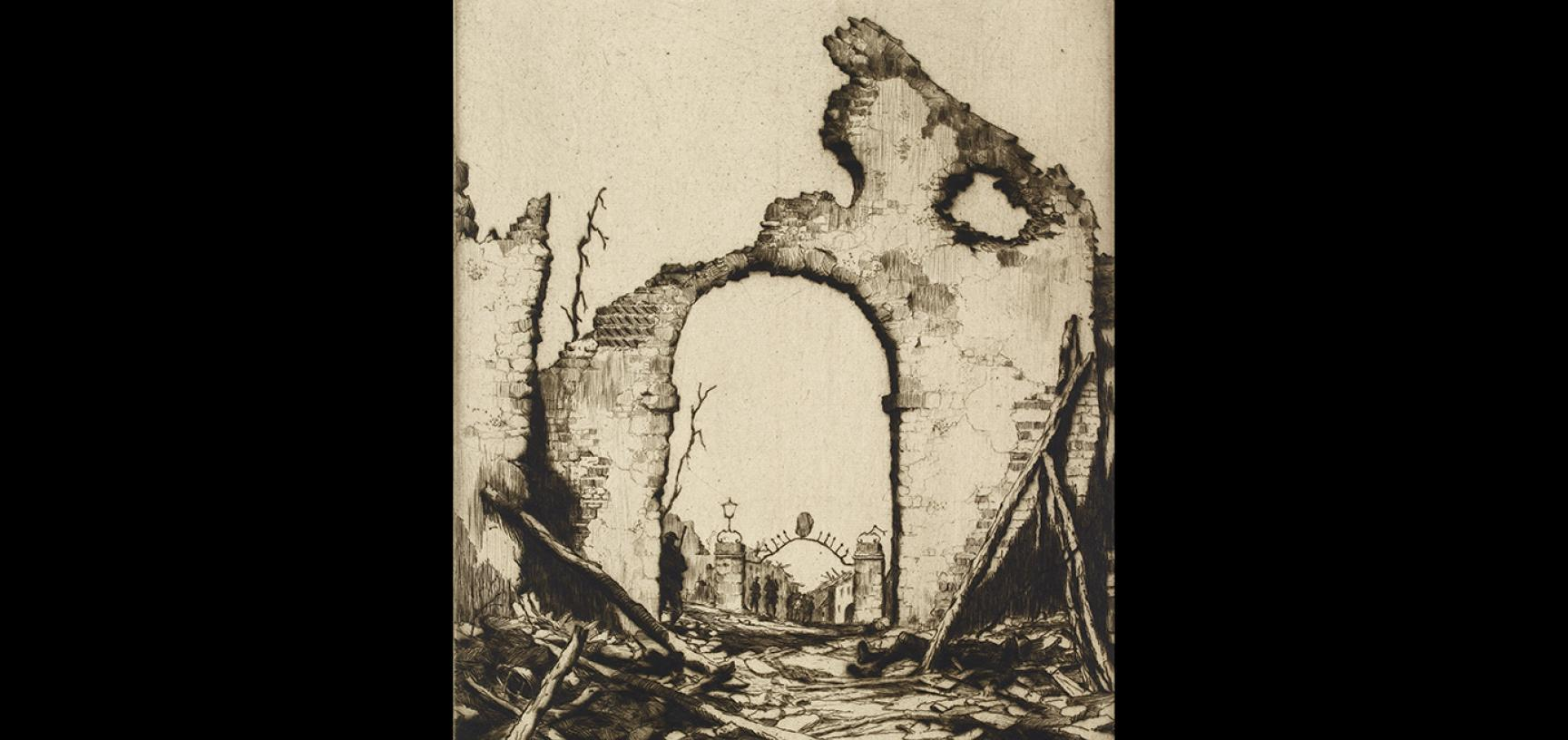 2. Martin Hardie, The Ruins of Nervesa, 1918–1919 © Ashmolean Museum, Presented by Mrs Martin Hardie, the artist's widow, WA1965.40.36