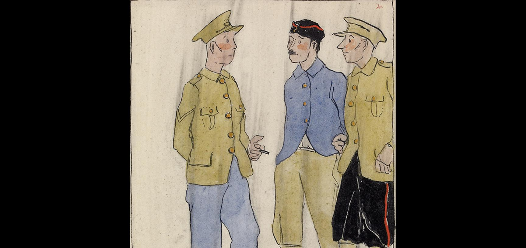 Claud Lovat Fraser,The Encroachment of Khaki and the Favoured Few, 1919 © Ashmolean Museum Presented by Mrs Grace Lovat Fraser (the artist's widow), WA1975.101.50