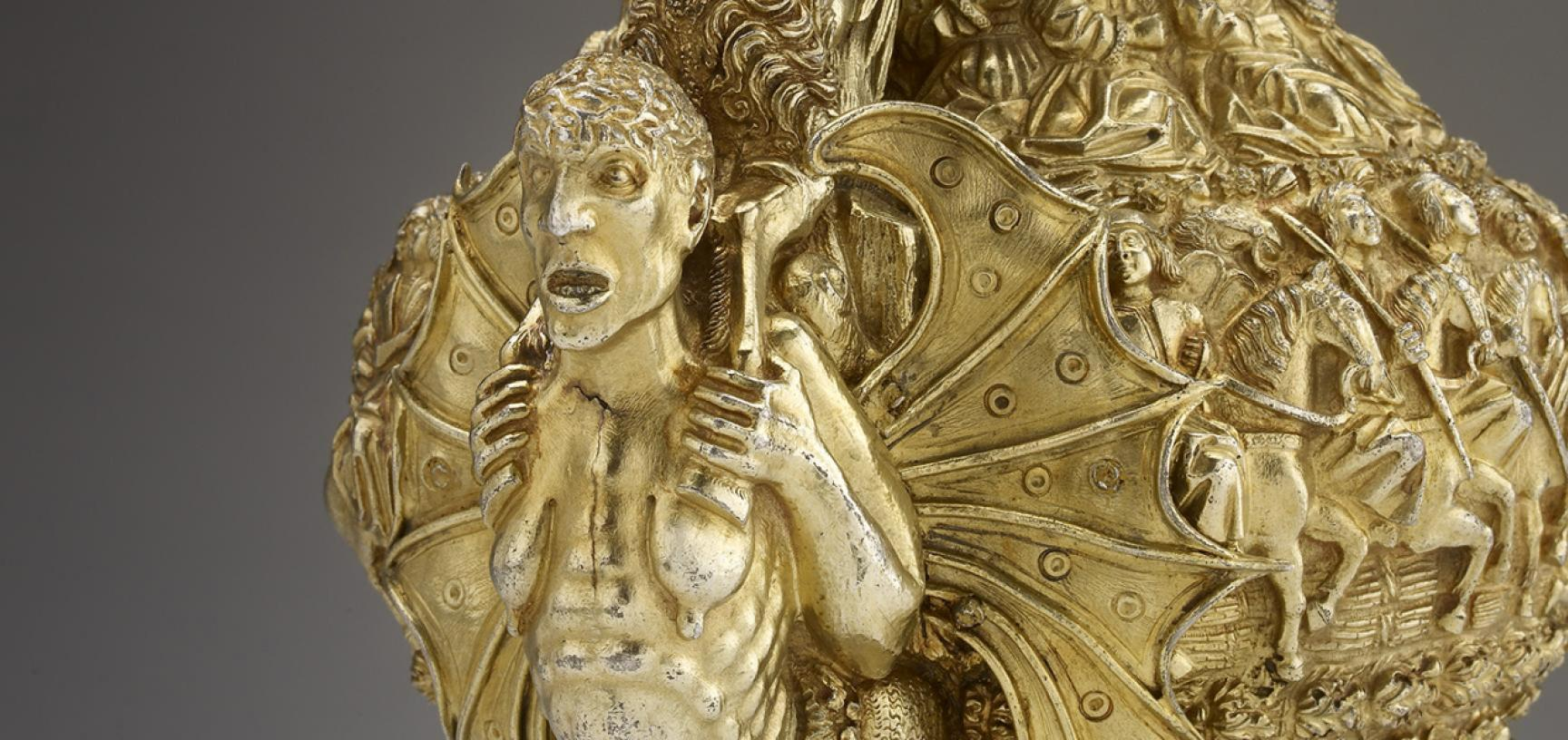 PORTUGUESE GILT EWER from the Ashmolean collections (detail)