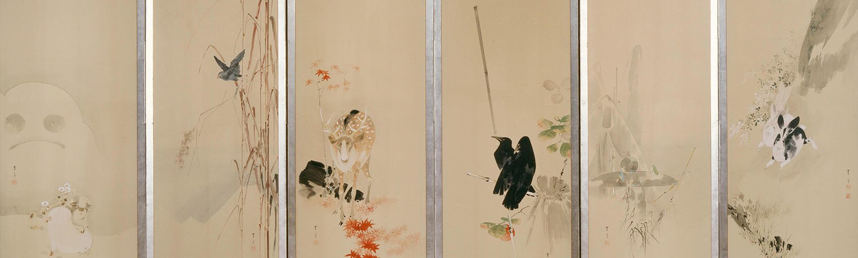 Japanese screen showing 6 of the 12 months of the year