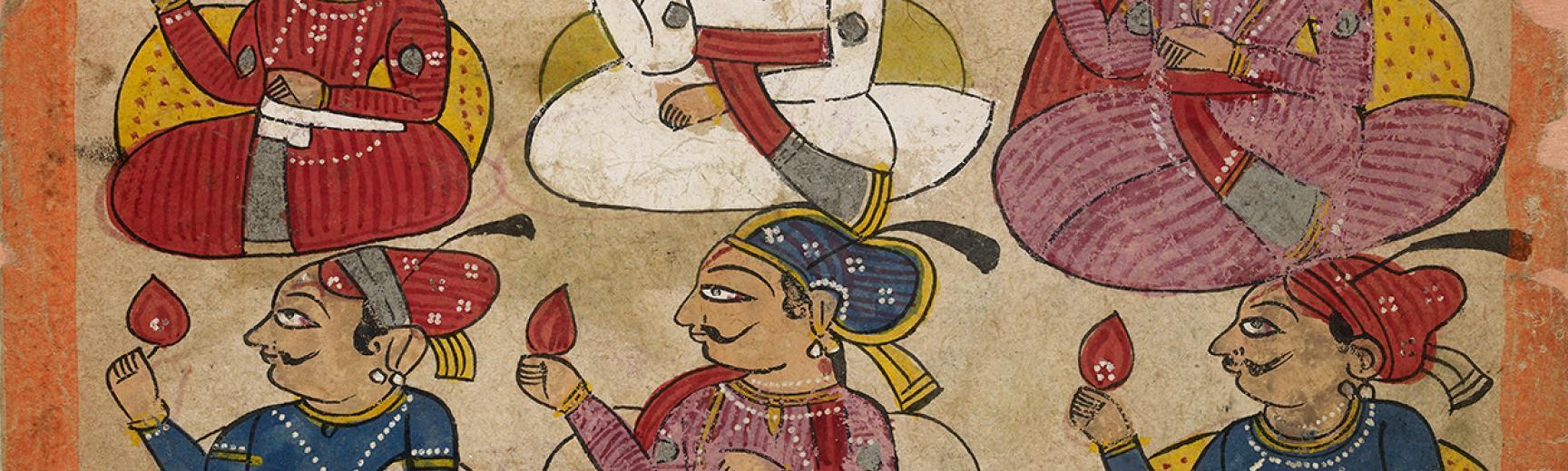 Noblemen in durbar Verso: Dancing girl performing for a Raja
