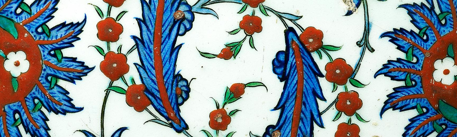 Tile with serrated leaves and flowers, 16th Century, Turkey