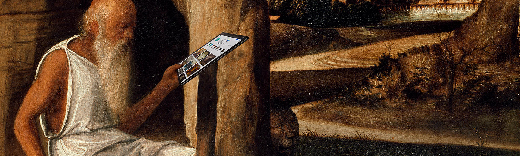 landscape detail st jerome reading in a landscape by giovanni bellini with a tablet ashmolean museum wa1899 cdef p1