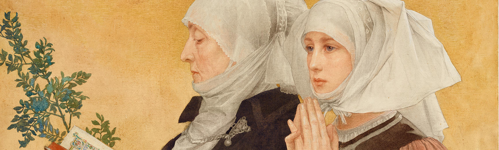 Landscape watercolour of two woman praying with a gold background