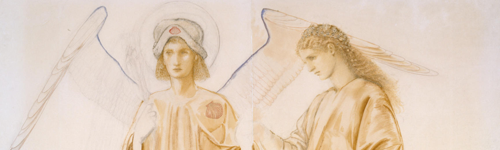 Drawing of two robed figures, one with large wings