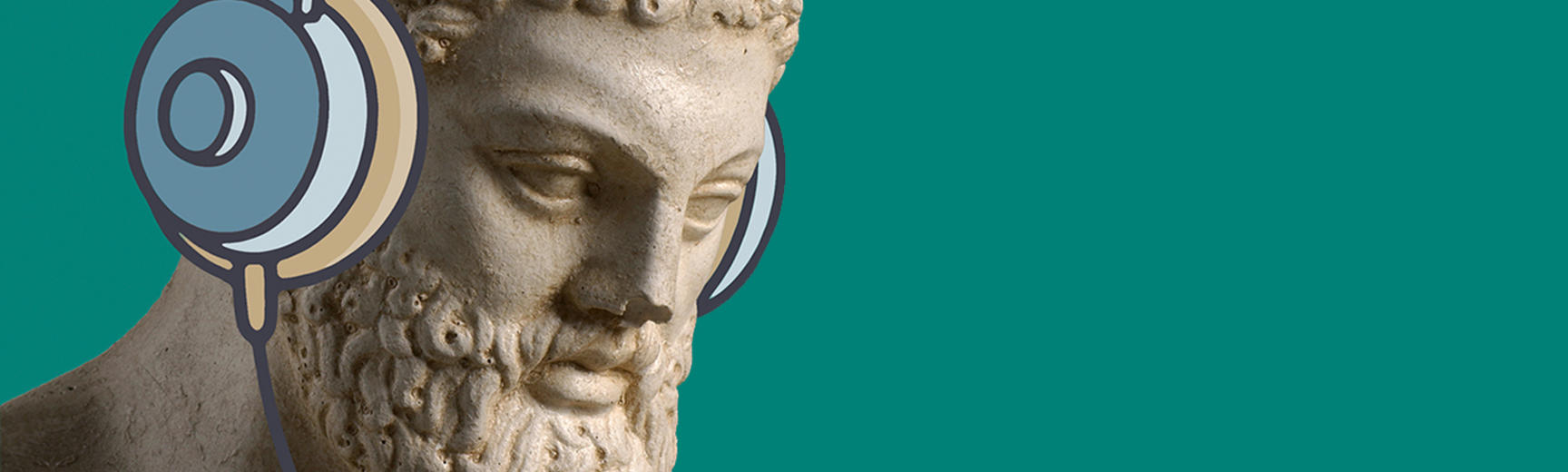 Cast of a sculpture, illustrated to be wearing headphones