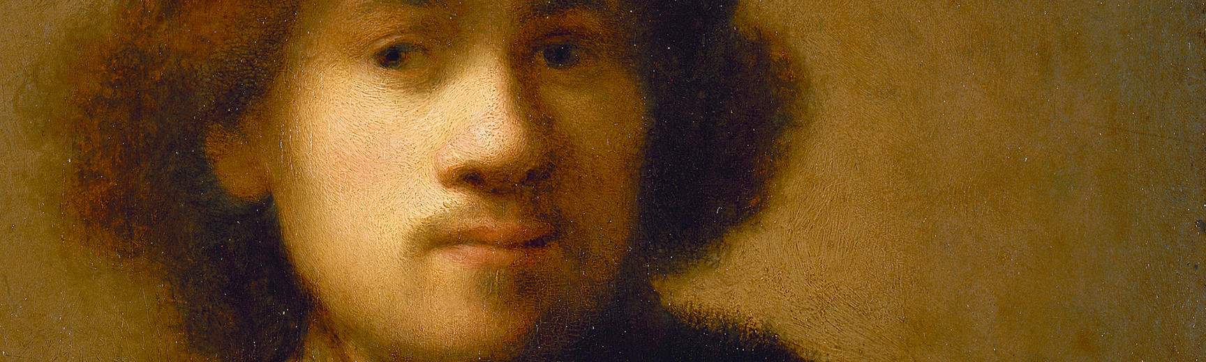 Detail from a painted self portrait of a young Rembrandt