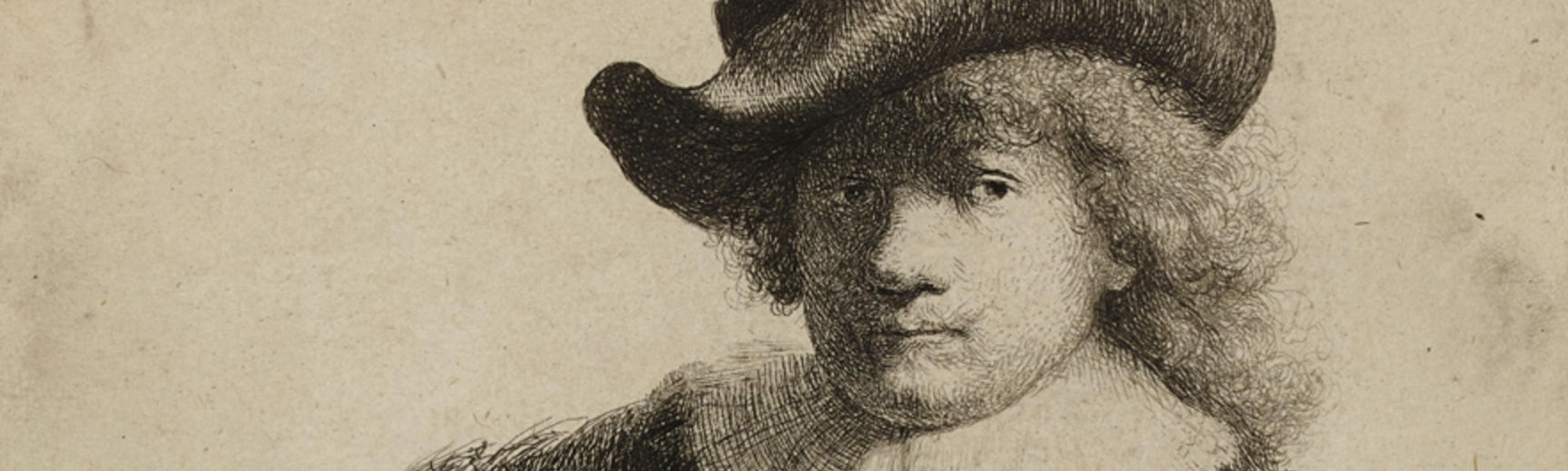2020 Young Rembrandt Exhibition – Rembrandt, Self-portrait in a soft hat and a patterned cloak, 1631 © British Museum, London