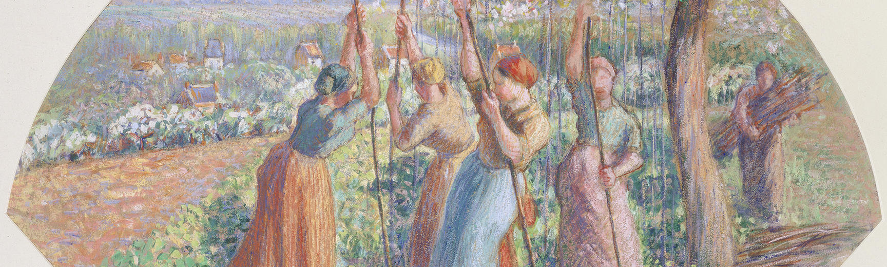 Detail of a painting by Camille Pissarro of women staking peas under a tree