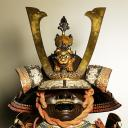 Samurai suit Iron, gilt iron, gilt soft metals, lacquer, gilt leather, doeskin, crystal, mother-of-pearl, silk, wood, and bear fur 146 x 60 x 70 cm