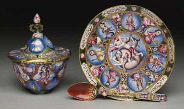 Astrological bowl, saucer and spoon