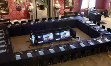 Ashmolean Venue Hire – The Mallett Gallery set up for a Conference