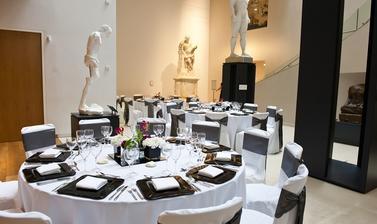 Round tables set up in the Atrium