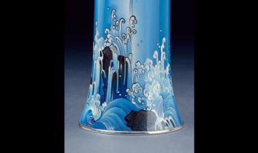 Vase with waterfall over rocks by Namikawa Yasuyuki