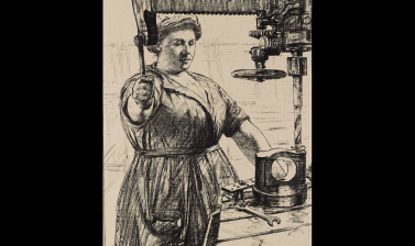 Archibald Standish Hartrick, On Munitions: Heavy Work - Drilling a Casting, 1917 © Ashmolean Museum, Presented by the Ministry of Information, WA1919.31.60