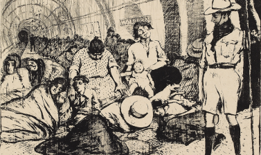 Archibald Standish Hartrick, Underground in Wartime, 1916 © Ashmolean Museum, Presented by Vincent Henry Lines, WA1964.76.17