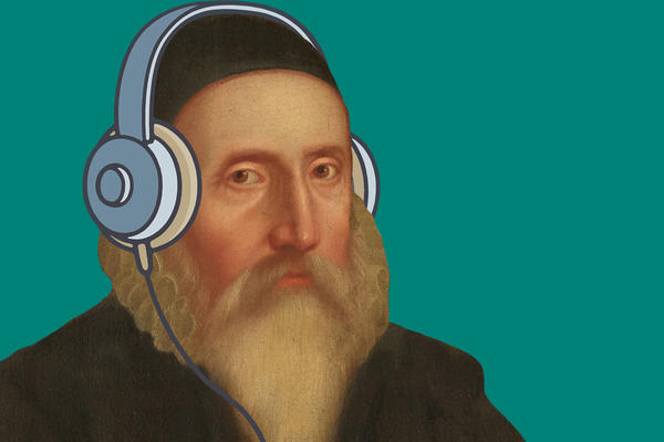 Portrait of a bearded man, illustrated with a pair of headphones