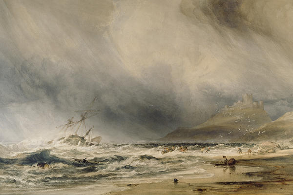 Watercolour landscape drawing of Bamborough castle on the coast