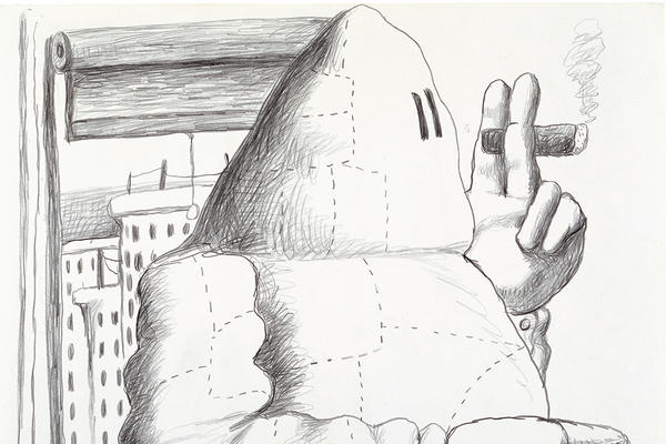 A drawing of a man in a window smoking a cigar