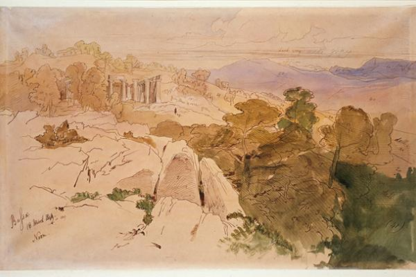 View of the Temple of Apollo at Bassae, Greece by Edward Lear
