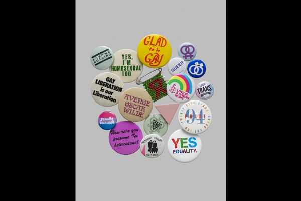Selection of LGBTQ campaign badges © Trustees of the British Museum