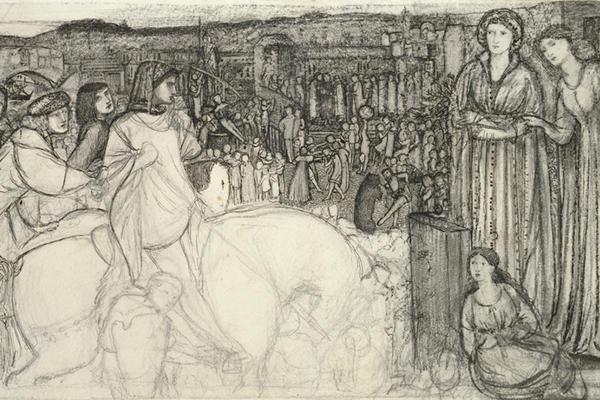 Edward Coley Burne-Jones, Gualdrada Donati presenting her Daughter to Buondelmente