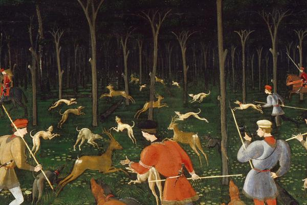 The Hunt in the Forest by Uccello detail