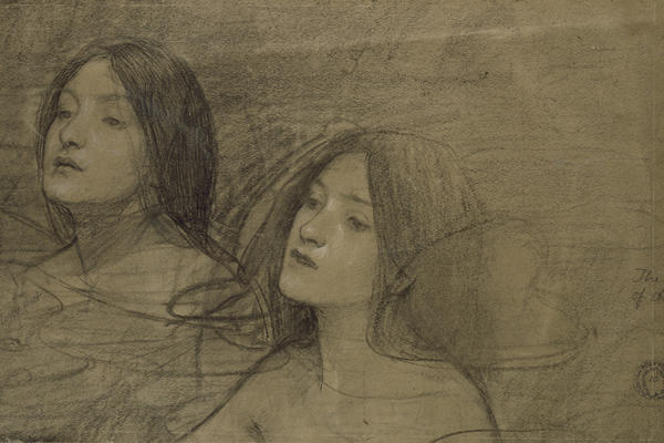 John William Waterhouse, Study of two nymphs for 'Hylas and the Nymphs'