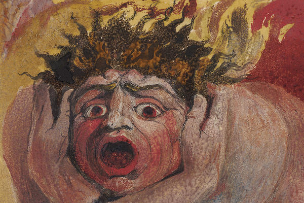 Drawing of a man in flames